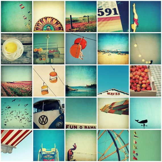 print set, art print set, summer art prints - Sunshine in a Box, twenty-five 5x5 photographs