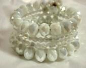 White Iridescent Crystal Wrap Bracelet, Crystal Bracelets, Wrap Around Bracelets, White Jewelry, Iridescent White Wrap Bracelet, Dangle Bobs