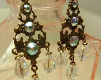 Chandelier Crystal Earrings... Bohemian Earrings, Gypsy Earrings, Dangle Earrings...Wire Wrapped Crystal Chandelier Earrings, Jewelry