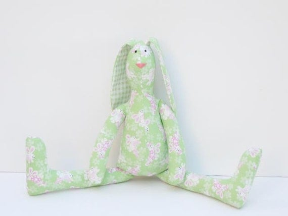 Stuffed bunny hare rabbit softie - fabric doll - lovely bunny stuffe toy- mint pink green - Gift for girl and boy