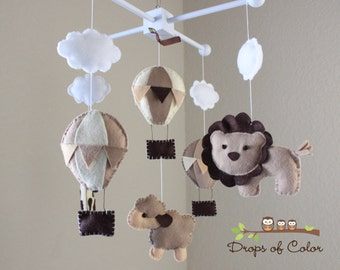 "Baby Mobile - Baby Crib Mobile - Hot Air Balloons, Clouds Animals Mobile ""Up in the Air"" (You Can Pick your Colors and Animals)"