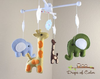 "Baby Mobile - Baby Crib Mobile - Nursery Elephant Giraffe Mobile - Safari Mobile ""Baby Giraffes & Elephants""(You can pick your colors)"