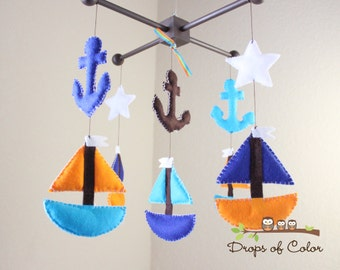 Baby Mobile - Baby Crib Mobile - Boat Mobile - Set Sail Mobile - Anchors and Boats - Marine (You can pick your colors)