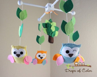 """Baby Crib Mobile - Baby Mobile - Owl Mobile - Nursery Crib Mobile """"Drops of Color Owls""""(You can pick your colors)"""
