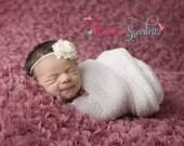 Baby Girl Headbands..Baby Headbands..Ivory Flower Headband..Newborn Headbands..Baby Bow Headband