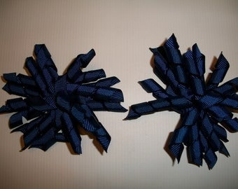 The Hair Bow Factory Navy Korker Hair Bows Set of 2