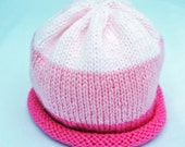 Pretty in Pink Knitted Baby Hat size 6 to 12 months ready to ship