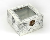 "Customizable boxes, Ring Bearer, Ring Bearer Box, Treasury Bicycle Box with Window . Dimensions :4.7 ""/ 4.7' / 3"""