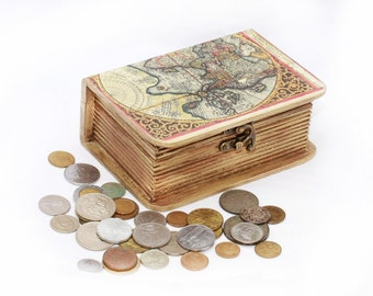 Keepsake box,  Memory box, Book Treasury, Wooden  Box, Vintage World map, Golden Box, Jewelry box