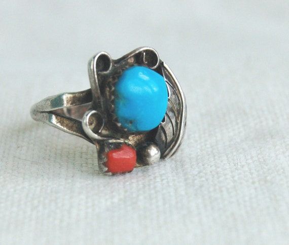 Vintage Red Coral and Turquoise Ring Southwestern Stones