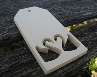 30 Heart SWAN Tags. 4 x 2 inch. You CHOOSE The COLORS. Weddings, Wishing Trees, Escort, Gift Tags. Custom Orders Welcome.