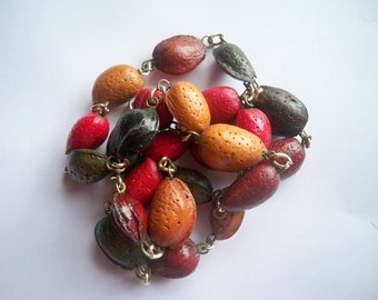 Vintage Bohemian Colored Nut and Chain Necklace - Hippie Fall Jewelry