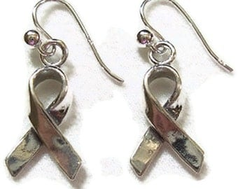 Cancer Awareness Ribbon Earrings - Sterling Silver Earrings