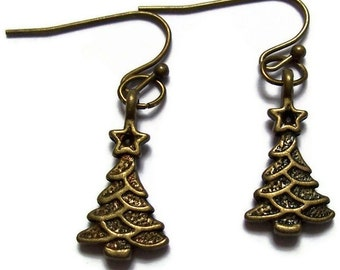 Christmas Tree Earrings in Bronze