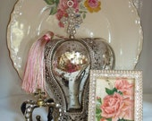 Pink Rose Picture-Crystal Mini Frame-Silver Metal-Shabby Chic-Cottage Style-De Longpre-C Klein-Romantic Home.