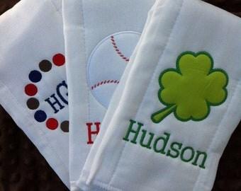 Set of 3 Personalized Burp Cloths - Diaper Cloths - Baby Boy - Monogrammed - Gift Set - Basketball - Gator
