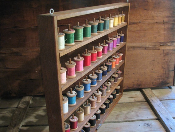 Vintage Sewing Spool Rack Colorful Thread Wooden Sewing Room Crafts Person Storage