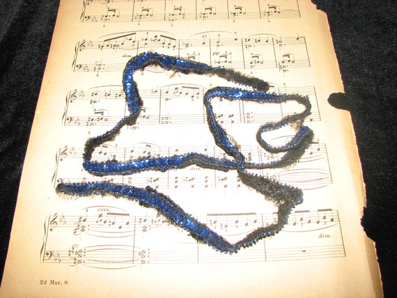 Vintage Sequin Trim 3 yards Electric Blue