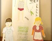 SALE - 2013 Letterpress and Woodcut Farmstead & Friends Paper Doll Calendar