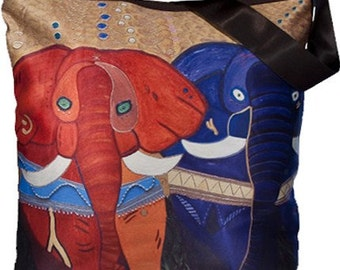 Elephants Large Square Bucket  Handbag by Salvador Kitti -  Support Wildlife Conservation, Read How