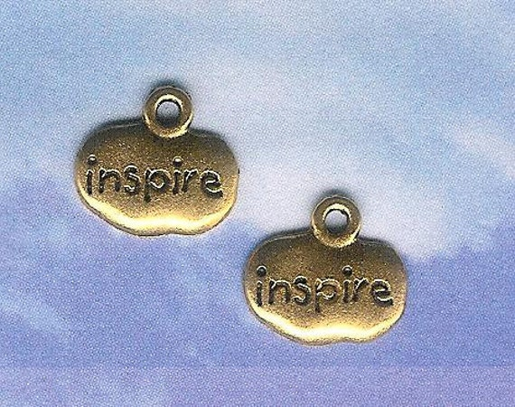 Low Close Out Price-Antique Gold Inspire Word Cloud Charm- 2 pieces