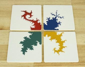 Fractal Letterpress Coasters - Set of 4