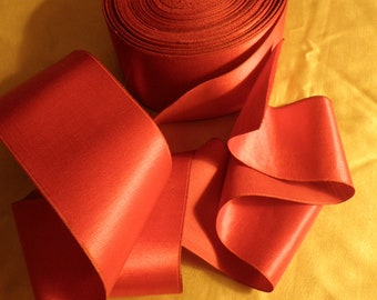 Vintage Wide Red Cotton Sateen Ribbon, Vintage Christmas Ribbon, Vintage Craft Supplies, Vintage Sewing Supplies