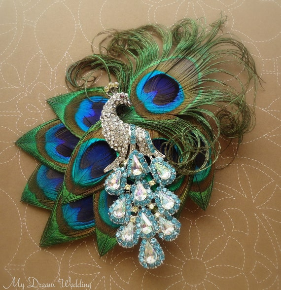 Peacock Headpiece For Wedding: Peacock Bridal Headpiece. Stunning-Exquisite Peacock Feather