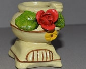 Miniature Bisque Porcelain Urn with Red Rose