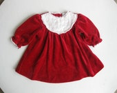 Festive Vintage Red Baby Girl Long-Sleeved Velvet Dress w/ Lace Collar ( 6 Months )