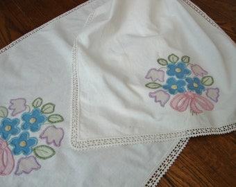 Floral Dresser Scarf Vintage Lace Trim Mantle Scarf Table Runner