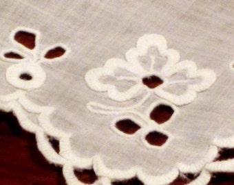 Antique Embroidered Eyelet Handkerchief