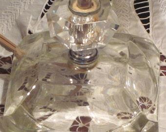 Vintage Crystal Boudoir Lamps Pair Circa 1950's