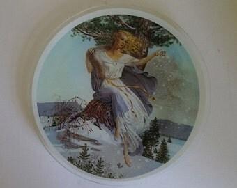 Glass Plate - Snow Princess - Winter Lady - Wall Plate.