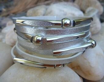 Leather Bracelet.Silver Leather  Bracelet.Unisex.