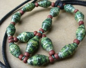 Peace necklace ~ Green and brown paper bead necklace ~ One of a kind Paper bead jewelry