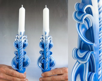 Valentines day gift for him - Taper candles - Blue candles -  Candle set