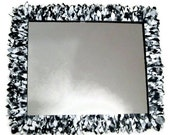 Black and White Large Mirror, Leather Feather Wall Mirror, Bathroom Mirror  MADE TO ORDER