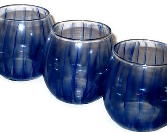 Hand Painted Blue Wedding Candle Votives, Mothers Day