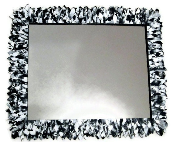 Black and White Large Mirror Leather Feather Wall by ...