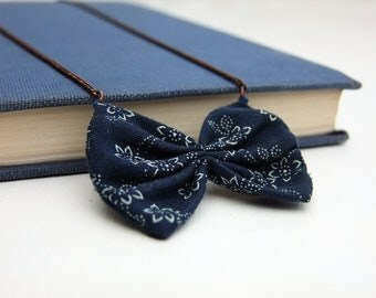 Navy blue floral fabric bow, long antique copper chain
