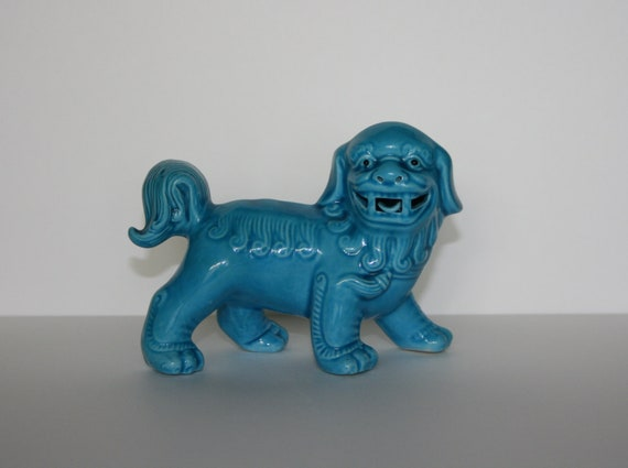 Vintage Foo Dog - Turquoise Blue Chinese Foo Dog or Temple Guardian Lion