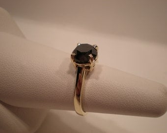 Gift for her - Beautiful Ring round certified black diamond in 14K yellow gold setting engagement wedding ring present