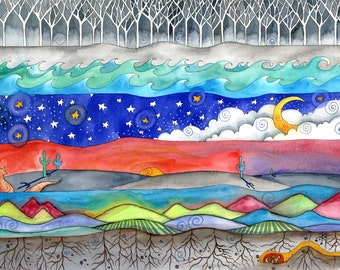 Land Sea Sky . Elemental Desert Nature Print . Little Fox . Cactus . Little Mouse