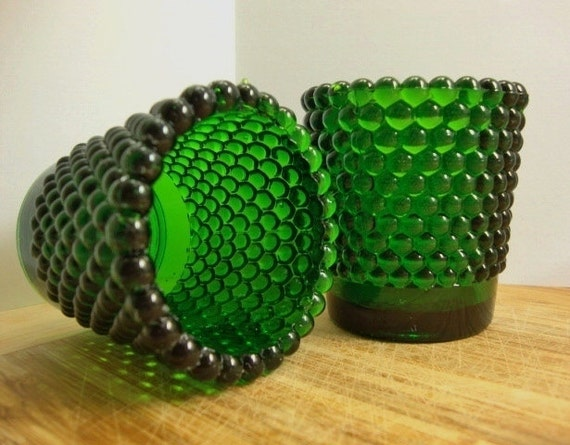 Emerald Green Hobnail Votive Holders, Green Hobnail Glass
