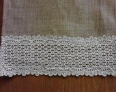 Burlap Table Runner with 5 inch Cluny Lace Ends 60 to 72 inches X 14 inches
