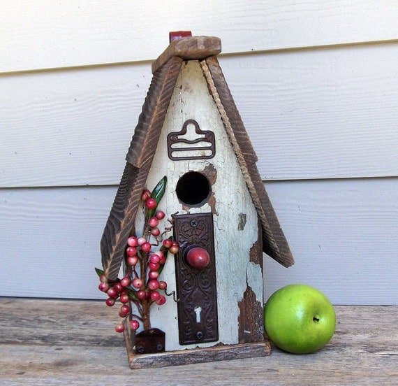 Shabby Chic Birdhouse, Light Green Primitive Birdhouse, Peely Paint, Decorative or Outdoor Birdhouse, Red Berries, Recycled, Reclaimed
