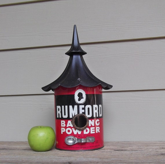 Tin Can Birdhouse, Baking Powder Can Birdhouse, Repurposed, Whimsical Birdhouse, OOAK, Reclaimed, Kitchen, Red and Black