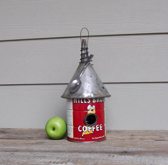 Vintage Coffee Can Birdhouse Funnel Roof Whimsical