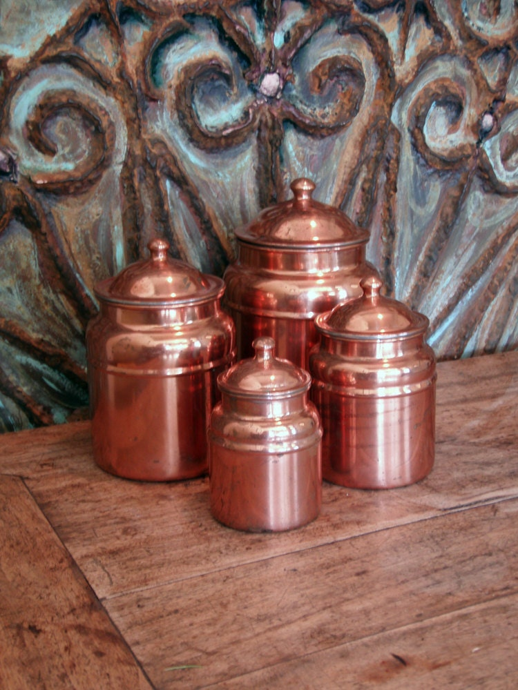 Copper kitchen canister sets old dutch antique copper for Kitchen set name